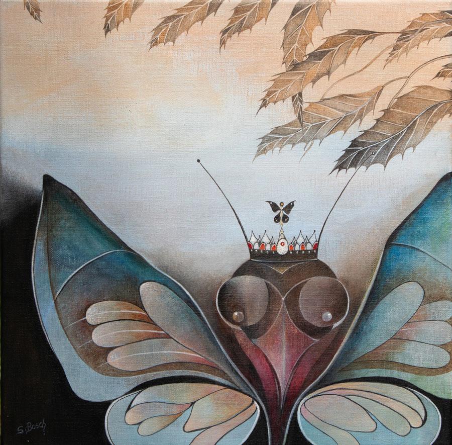 Le Monarque (papillon) - peinture acrylique de Sabine Van op den Bosch