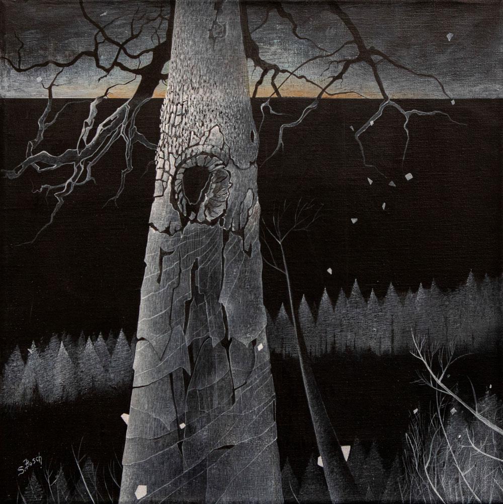 Noir de Noir - paysage à l'acrylique de Sabine Van top den Bosch