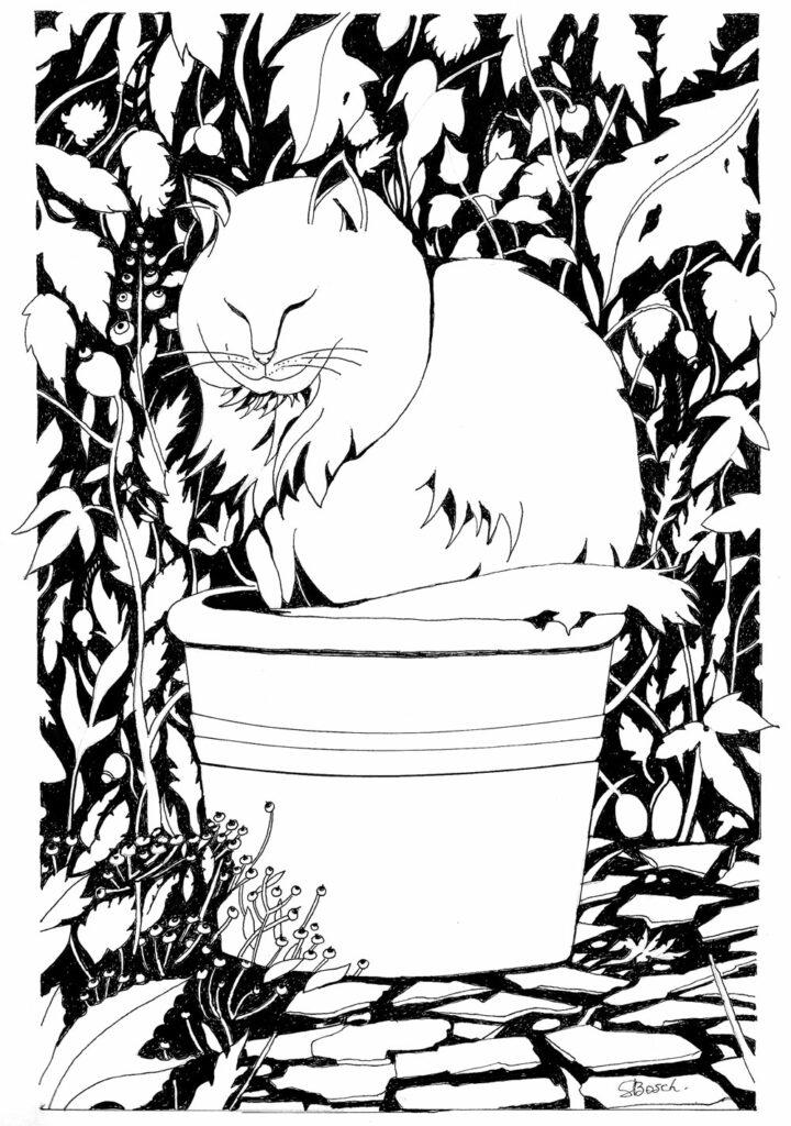 LE CHAT REMPOTÉ - dessin encre de chine - 29,7 X 21 cm