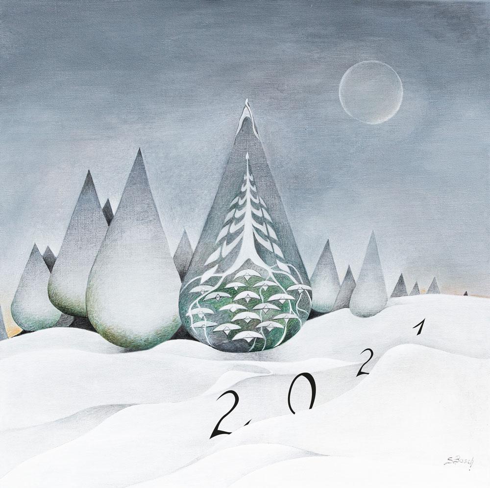 Carte de voeux 2021 de Sabine van op den Bosch (couverture) -paysage à la peinture acrylique