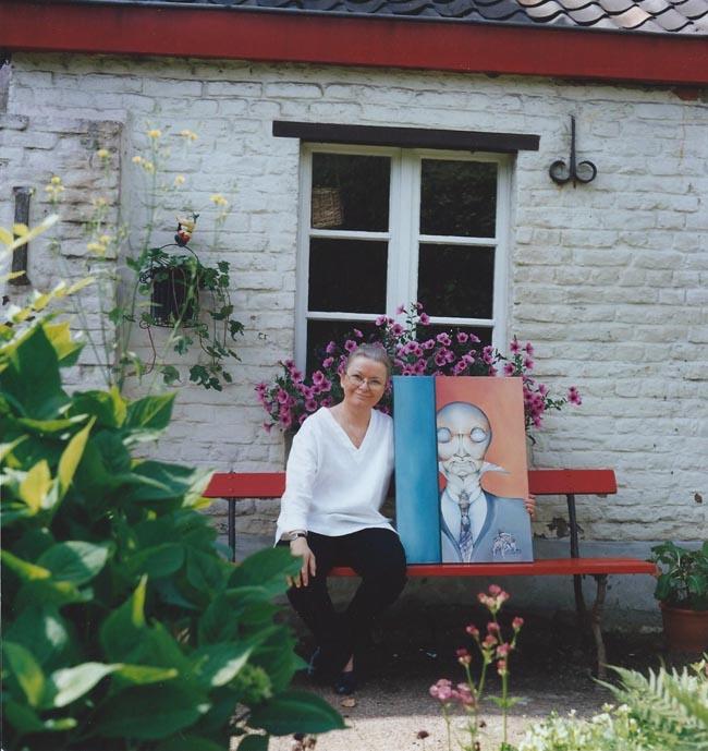 """Sabine van op den Bosch et son tableau """"LE MALEFICIEUX"""""""